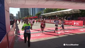Marathon runners push through to the end