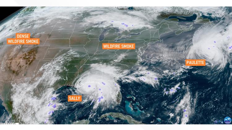 Satellite image shows wildfire smoke reaching the eastern US as hurricanes  churn | wusa9.com