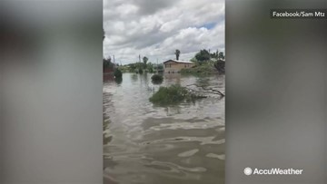 Massive storm blasts through, floods Texas town
