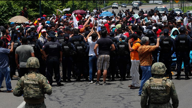 Mexican authorities stop a migrant caravan June 5 2019