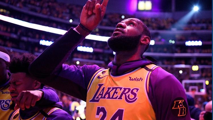 Kobe Bryant Basketball Lebron tribute AP
