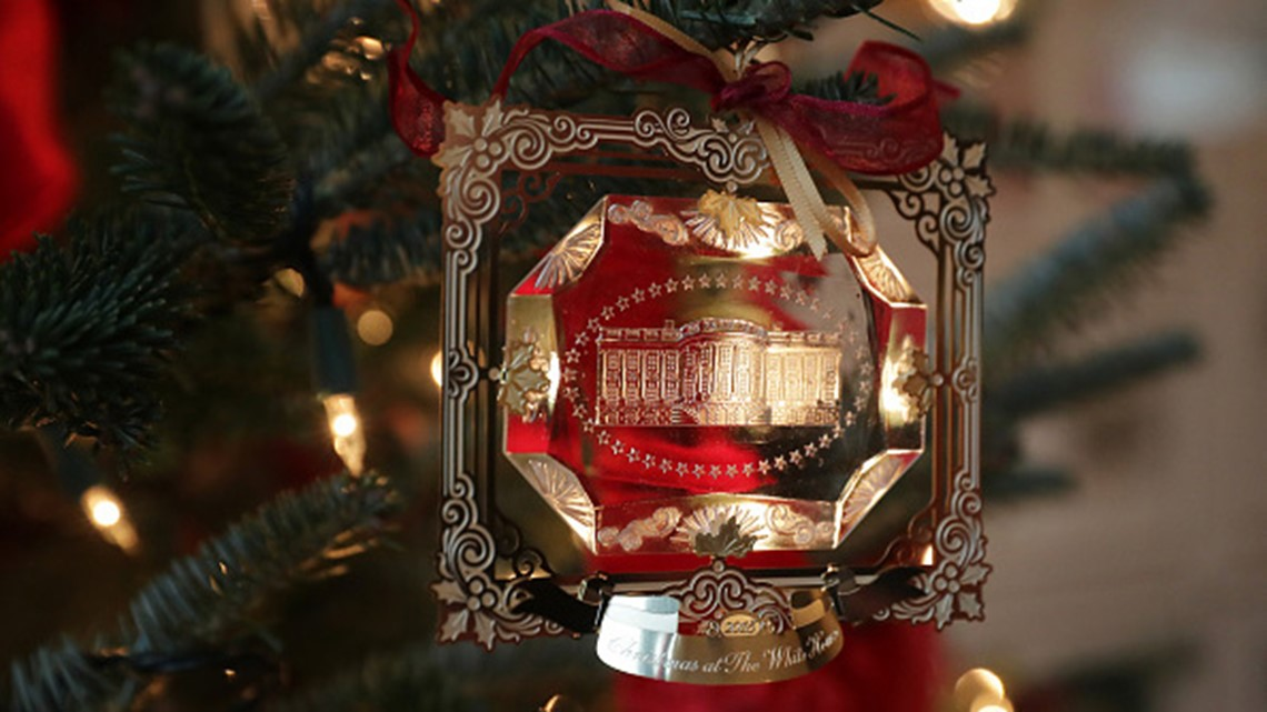 The First Family's official Christmas ornament is displayed at the White House November 26, 2018 in Washington, DC.