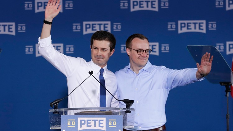Pete Buttigieg and Chasten at presidential announcement