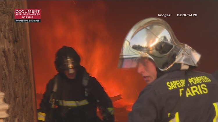 Dramatic video shows firefighters battling Notre Dame flames