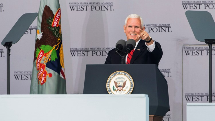 West Point Pence gestures to a cadet