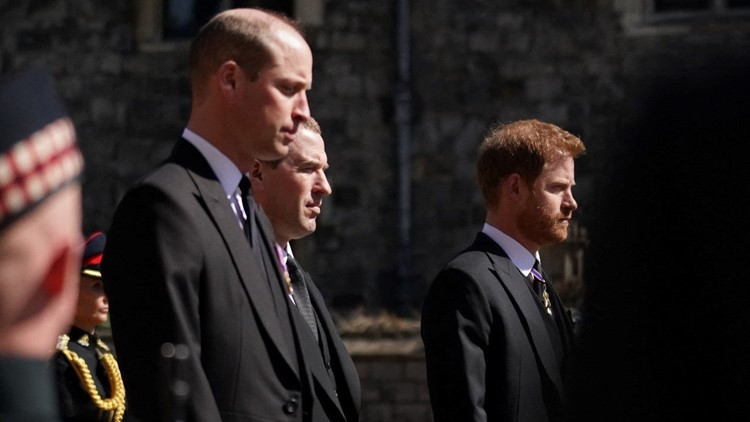 Prince Harry Publicly Reunites With Prince Charles and Prince William at Prince Philip's Funeral