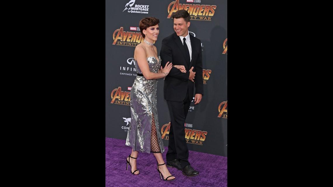 Avengers Infinity War Scarlett Johansson Colin Jost Make Their Red Carpet Debut As A Couple Wusa9 Com