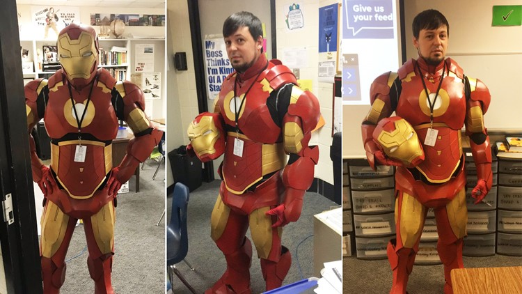 Teacher excited for 'Endgame' builds Iron Man suit and wears it to class