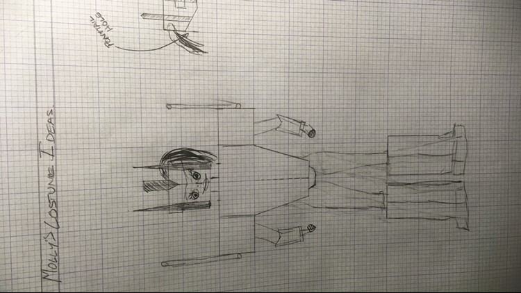"""Molly's designs for her """"Amazon Prime"""" Halloween costume."""