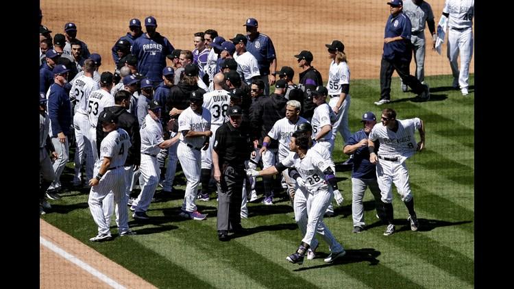 Bench-clearing brawl at Rockies game
