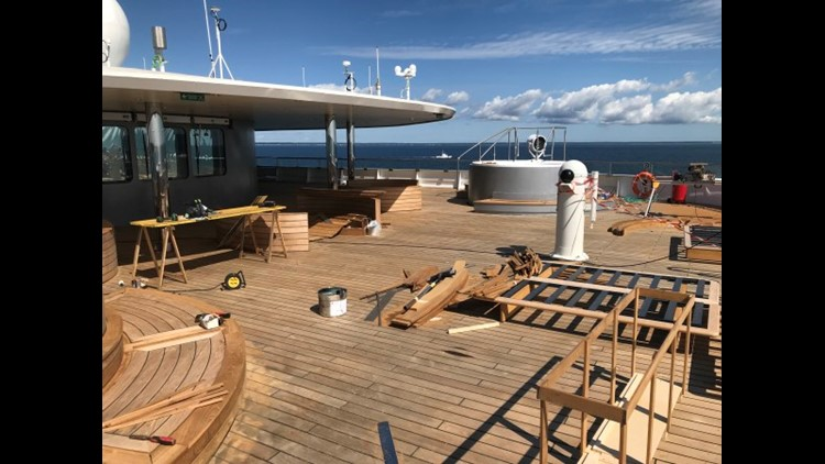 The main outdoor lounge area atop the 228-passenger Scenic Eclipse remained under construction for several weeks after the ship debuted in August. Photo by Gene Sloan / The Points Guy.
