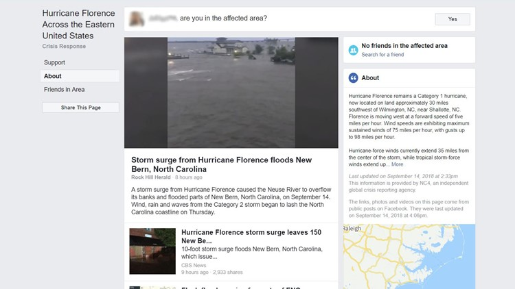 Facebook activates Safety Check for Hurricane Florence