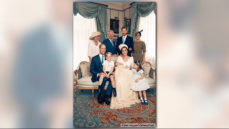 The royals: The Duke of Cambridge (seated from left), Prince George, Prince Louis, the Duchess of Cambridge and Princess Charlotte; the Duchess of Cornwall (standing from left), the Prince of Wales, the Duke of Sussex and the Duchess of Sussex.