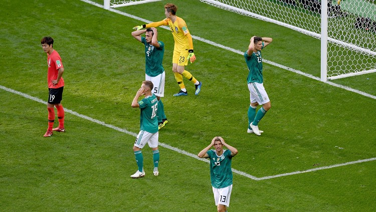 Germany players react after a missed chance during the 2018 FIFA World Cup Russia group F match between Korea Republic and Germany at Kazan Arena on June 27, 2018 in Kazan, Russia.