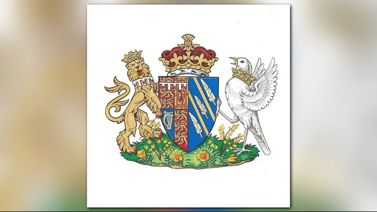 This image from Kensington Palace shows the newly created coat of arms of Meghan Duchess of Sussex. Meghan Markle and Prince Harry married on Saturday, May 19, and are now known as The Duke and Duchess of Sussex.