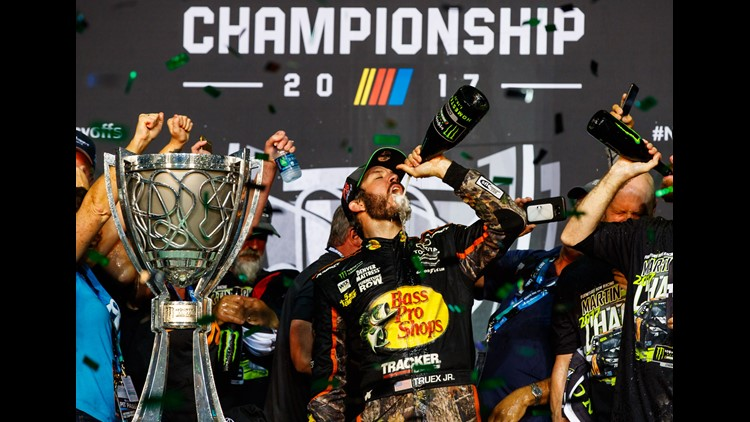 Nov. 19: Martin Truex Jr. celebrates after winning the Ford EcoBoost 400 to clinch the NASCAR Monster Energy cup series championship.