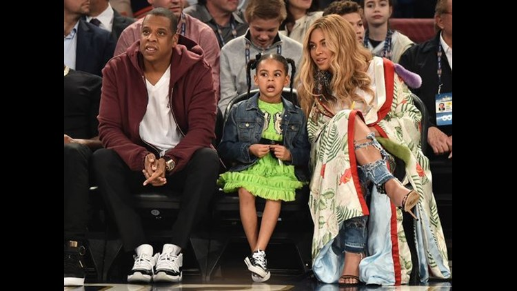 Jay Z, Blue Ivy Carter and Beyoncé Knowles took in the NBA All-Star Game on Feb. 19 in New Orleans.   (Photo: Theo Wargo, Getty Images)