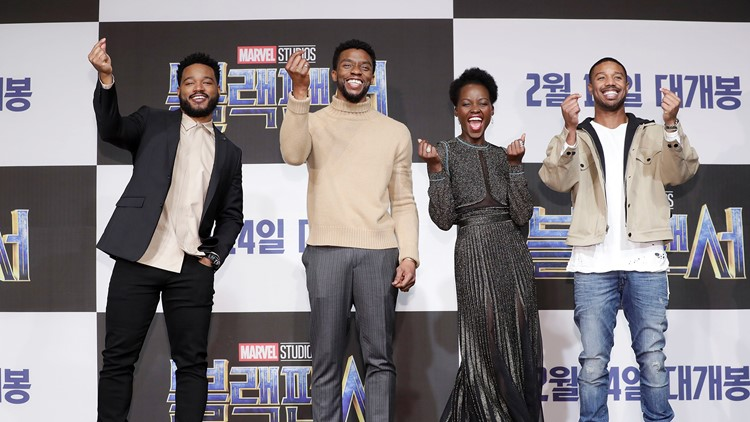 Director Ryan Coogler, Actor Chadwick Boseman, Lupita Nyong's and Michael B. Jordan(from L to R) attend the press conference for the Seoul premiere of 'Black Panther' on February 5, 2018 in Seoul, South Korea.