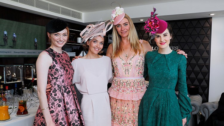 ASCOT, ENGLAND - JUNE 22: Eleanor Tomlinson, Victoria Pendleton, Jodie Kidd and Michelle Dockery attend the Longines suite in the Royal Enclosure, during Royal Ascot on June 22, 2018 (Photo by David M. Benett/Dave Benett/Getty Images for Longines)