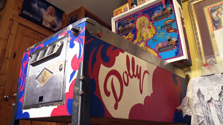 A restored Dolly Parton pinball machine.