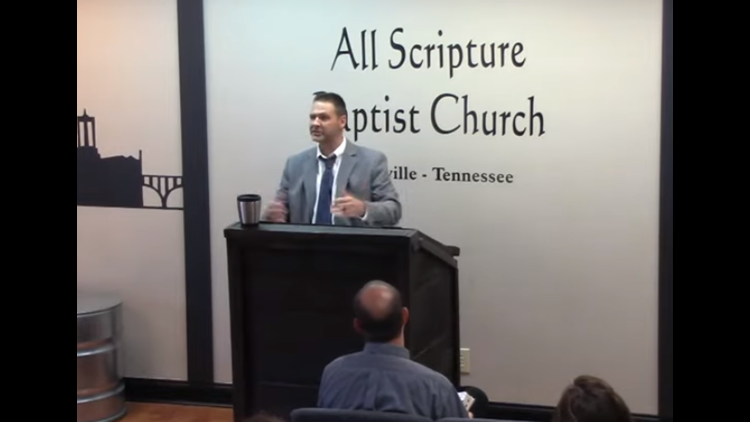 Grayson Fritts addresses his congregation June 2 in Knoxville.