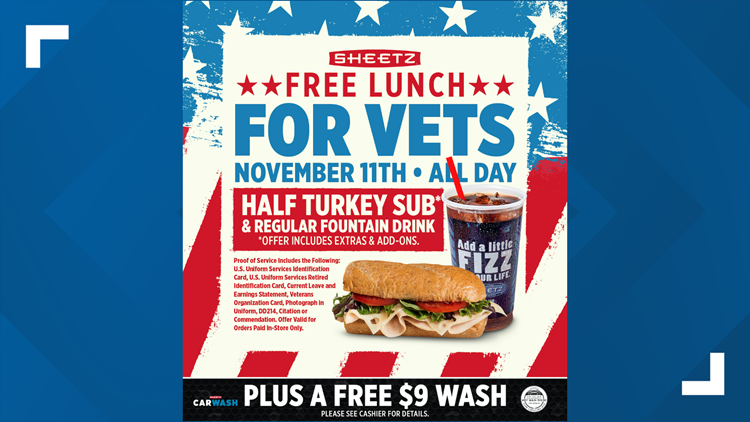 Sheetz offers free meal and car wash to all veterans and active military members on Veteran's Day