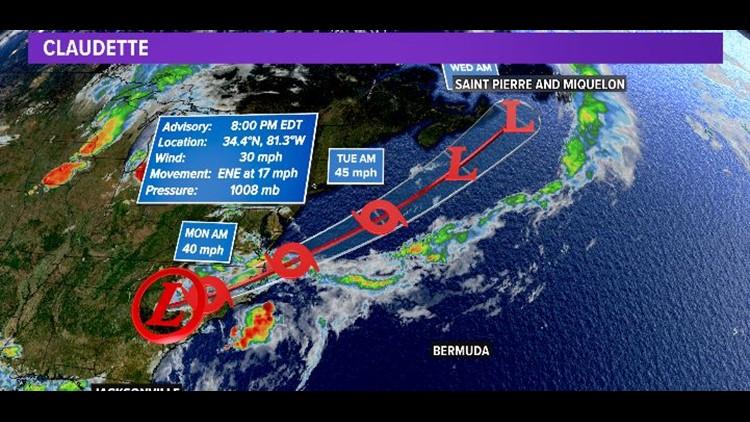 Tropics:  Tropical Depression Claudette tracks north of the First Coast