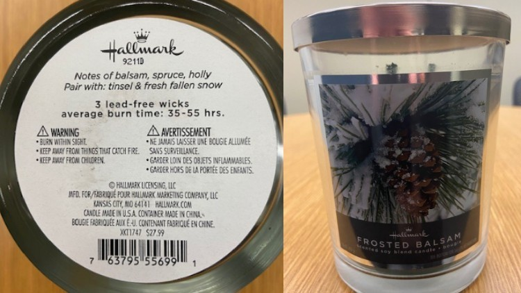 Hallmark recalls line of scented candles