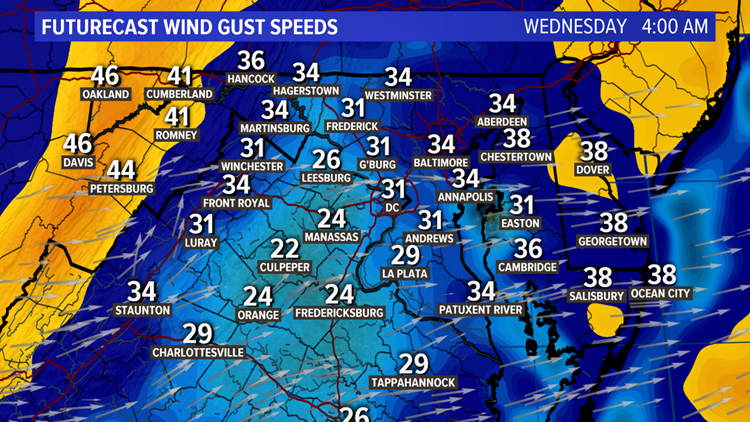 Wind Gust Forecast Wednesday Morning