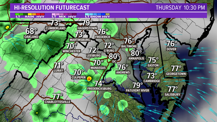 TIMELINE: Showers linger into fireworks time for DC metro