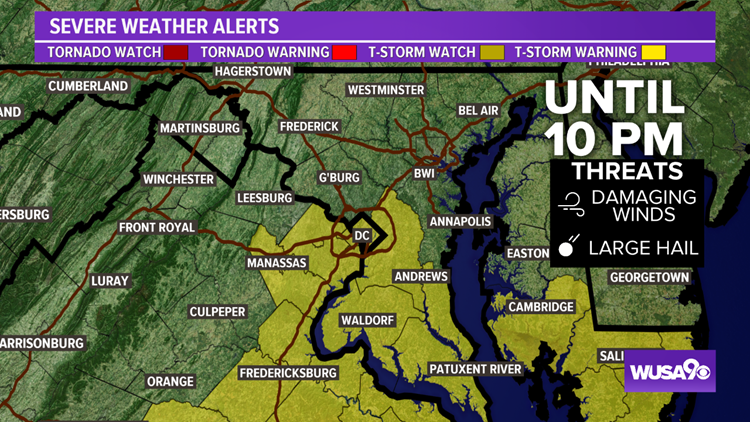 Severe T-storm Watch trimmed back for parts of DC, MD and VA