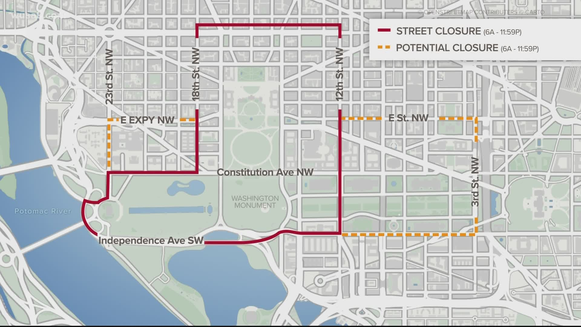 Picture of: March On Washington Road Closures Dc Parking Zones Streets Wusa9 Com