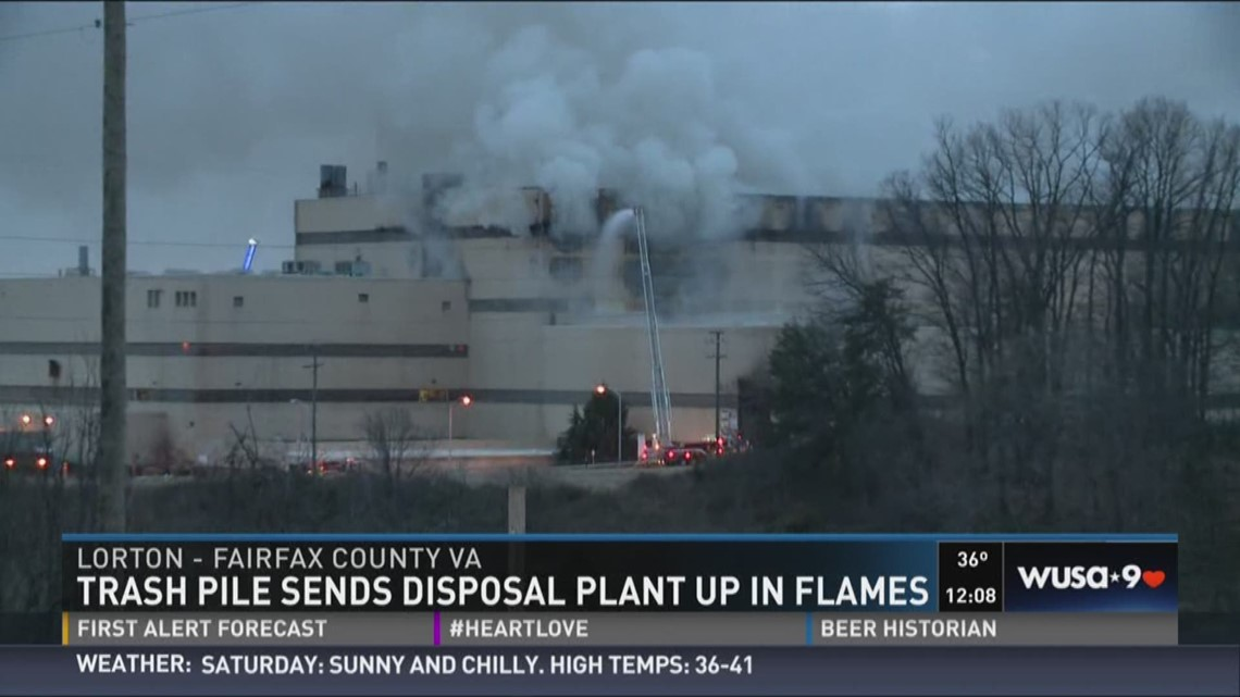 Trash pile sends disposal plant up in flames