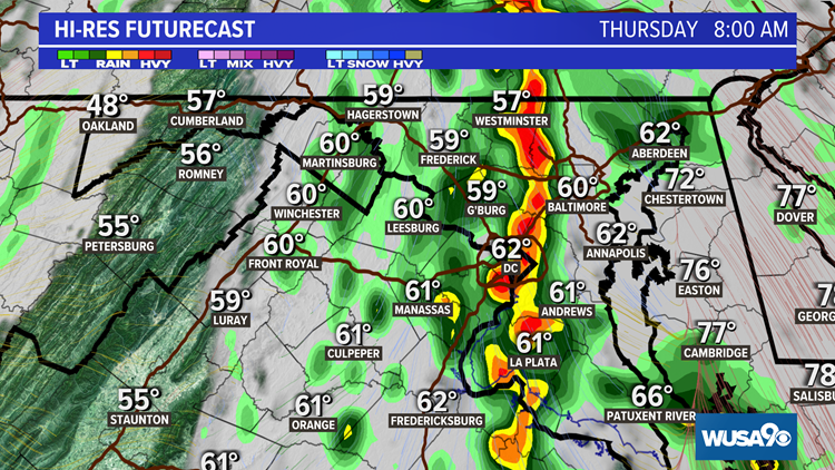TIMELINE: Here's when heavy rain is expected in the DMV
