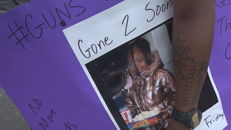 'My niece died in my arms' | 6-year-old Nyiah Courtney's uncle joins hundreds marching for change