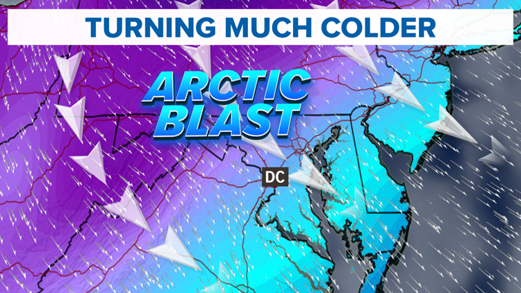 Arctic Blast arrives Sunday, gusty winds drop temps into the 20s