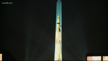 National Air and Space Museum starts projecting 20 minute show on Washington Monument for Apollo 11 anniversary