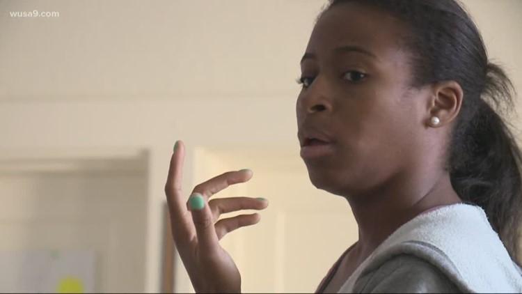 Woman teaching ballet at DC charter school