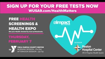 Get your free screenings at WUSA9's Health Matters expo on Feb. 7