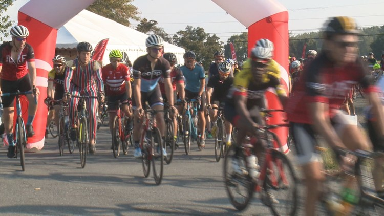 "Hundreds of bicyclists participate in the annual ""Lymphoma Research Ride"""