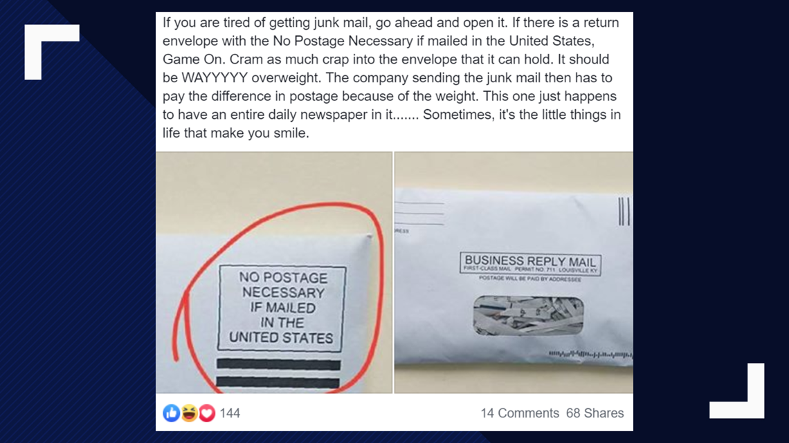 Verify Do Companies Cover The Cost Of Junk Mail You Send Back To Them Wusa9 Com