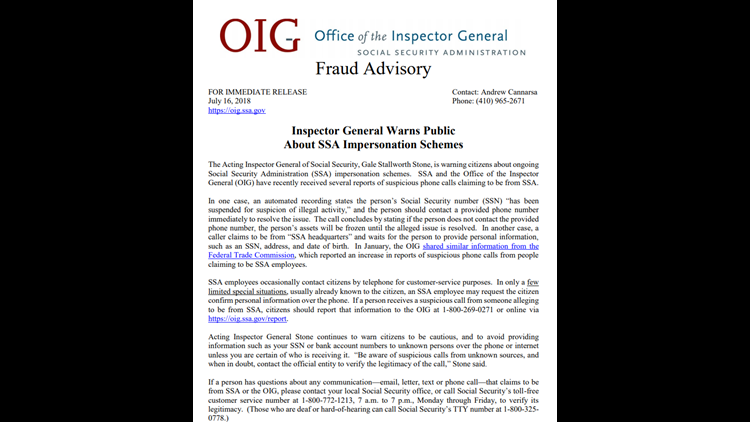 Office of the Inspector General fraud advisory