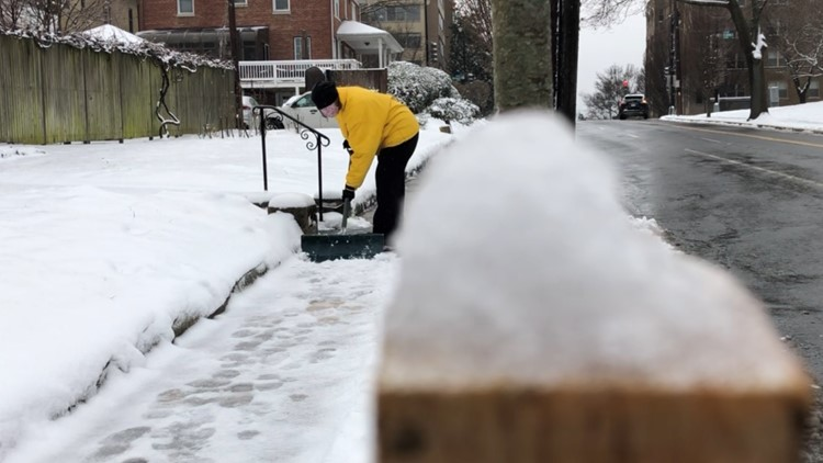DC residents busy clearing snow, ice ahead of second round of wintry mix