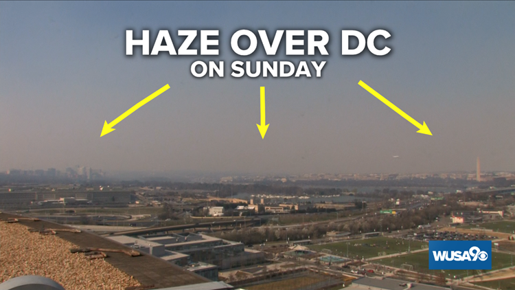 Controlled burn south of DC brought haze and a smell on Sunday