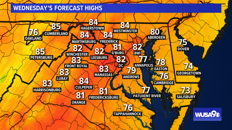 Clouds thin out Wednesday with low humidity and highs in the 80s. Here's the forecast