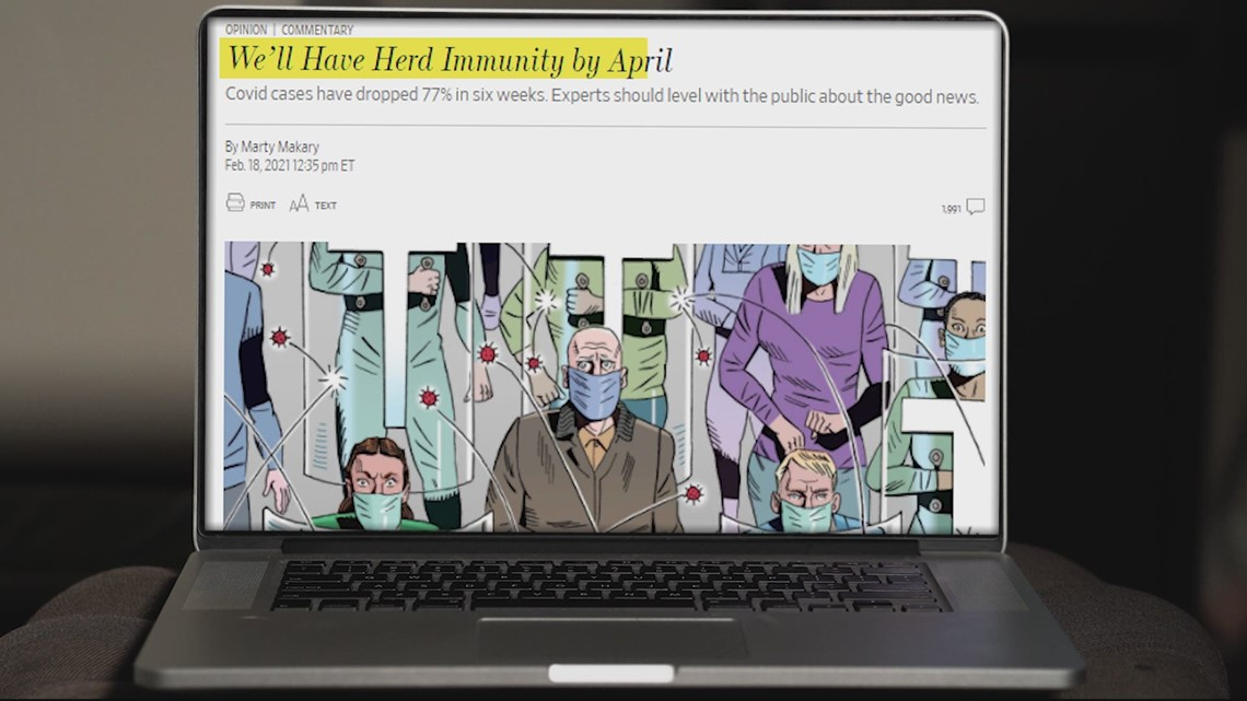 VERIFY: A Wall Street Journal op-ed predicts herd immunity by April. Why experts say that's wrong