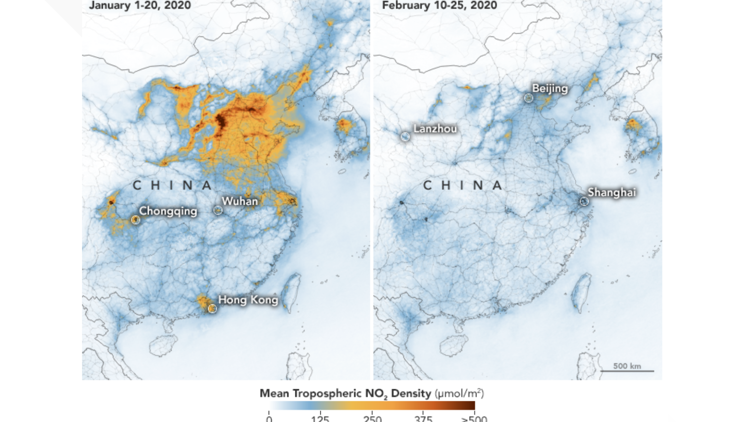 Satellite images of NO2 over China