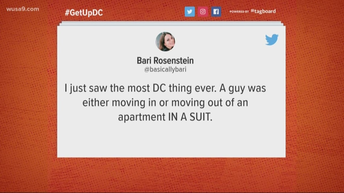 Guy wears a suit while moving in and out of an apartment...The Most DC Thing