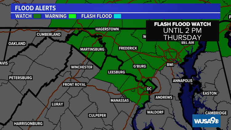 Flash Flood Warning for parts of metro DC. Here's the forecast