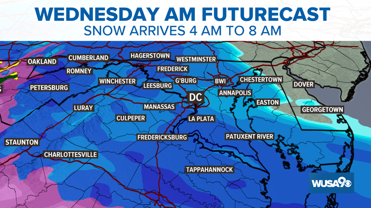 Winter storm to bring snow, sleet and freezing rain to D.C. Metro Wednesday, Winter Storm Warning Issued